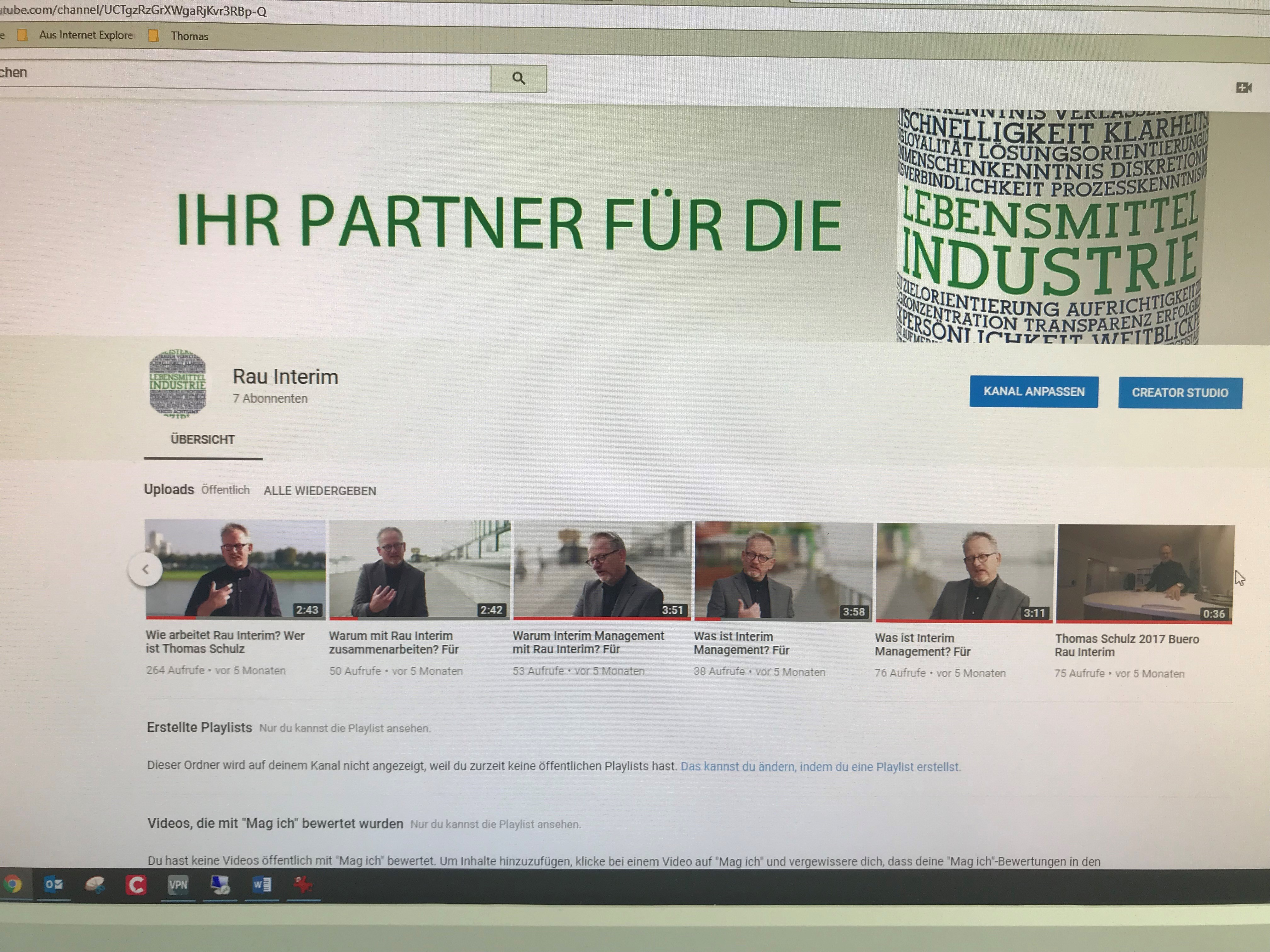 YouTube und Rau Interim